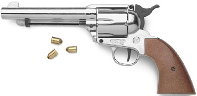 M1873 9mm Blank Firing Nickel Finish Old West Revolver