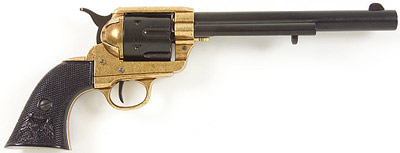 M1873 Black/Gold Finish Replica Revolver With Black Grips