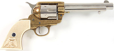 M1873 Nickel/Gold Finish Replica Revolver With White Grips