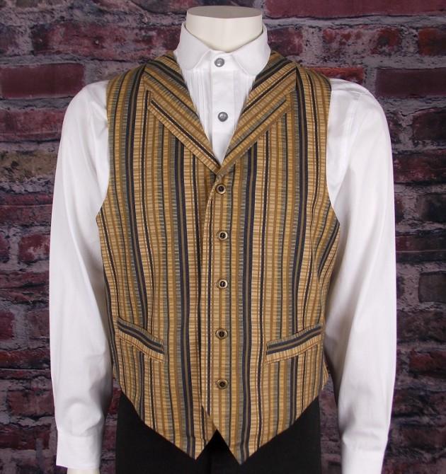 Mens 1858 Classic Bold Stripe Drifter Cotton Old West Vest