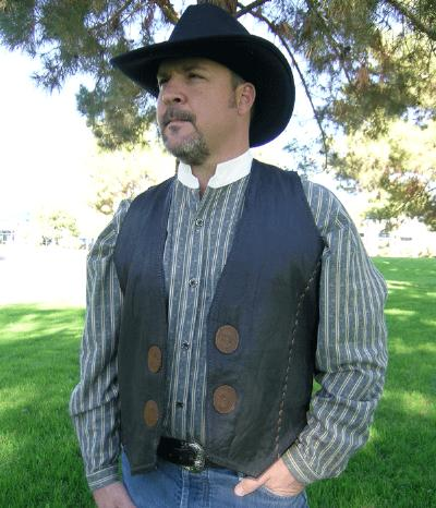 Western Boulder Leather Vest With Conchos