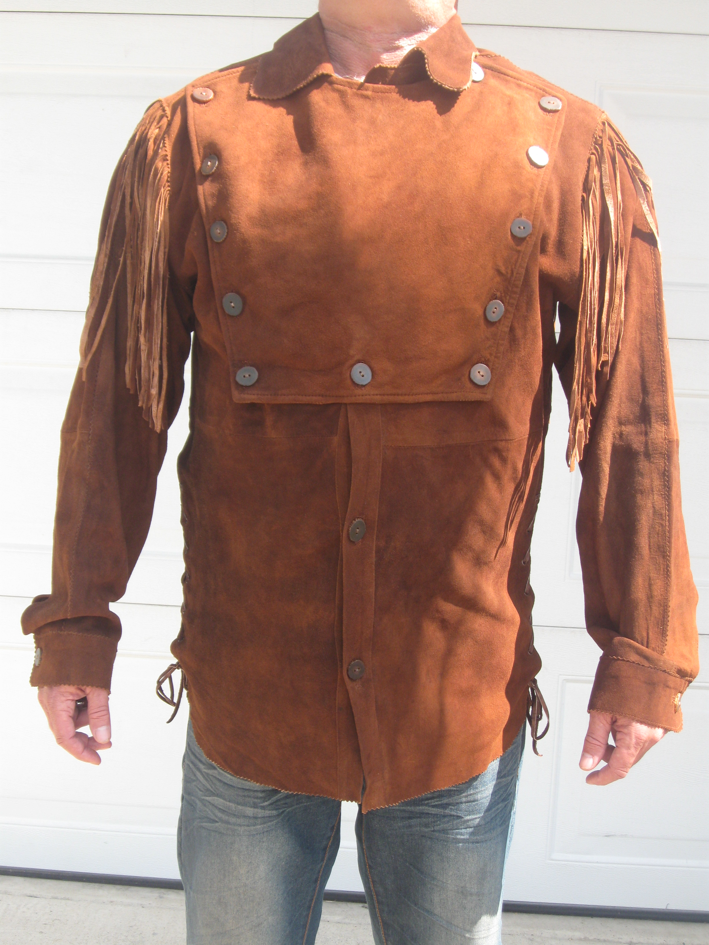 Men's Longhorn Suede Bib Shirt