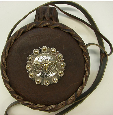 Metal Longhorn Leather Covered Old West Two Quart Canteen