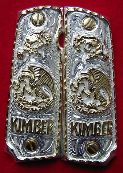 Kimber 1911 Grips Mexican Eagle Emblem with Buck'in Bronc