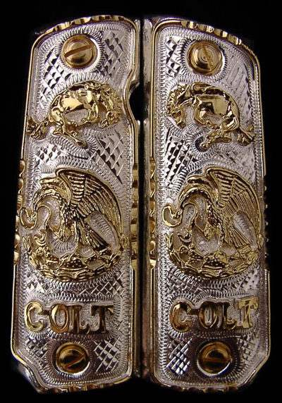 Mexican Eagle Horse Colt German Silver Gold Plated Pistol Grips