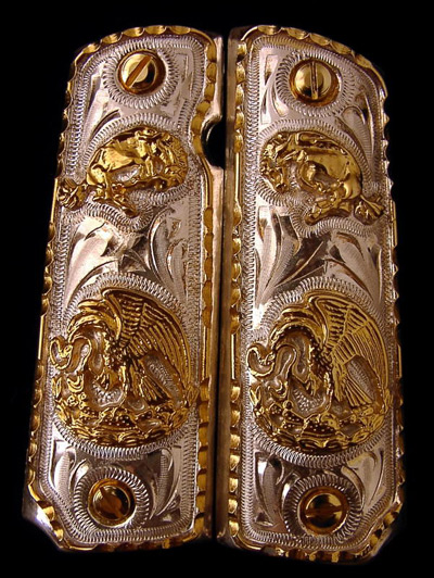 Mexican Eagle Horse German Silver Gold Plated Pistol Grips