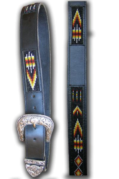 Native Arrowhead Beaded Leather Belt