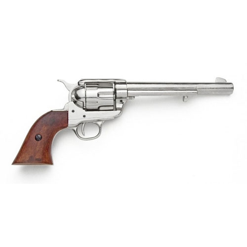 Old West Cavalry Revolver With Nickel Finish