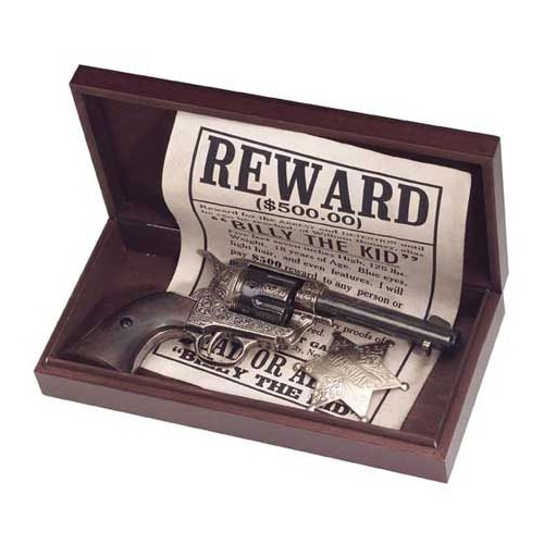 Old West Outlaw Billy The Kid Replica Pistol Wanted Poster Box Set