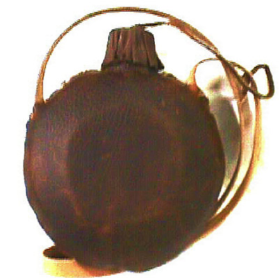 One Quart Plain Leather Covered Old West Canteen