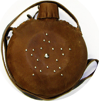 One Quart Studded Star Leather Covered Old West Canteen