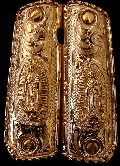 Our Lady of Guadalupe Gold Plated Pistol Grips