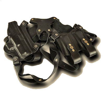 Ranger Horizontal Shoulder Holster with Double Clip Pouch
