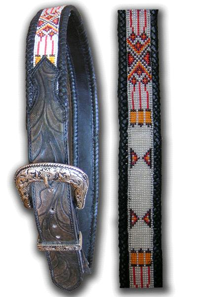 Red White Deign Hand Tooled Indian Beaded Belt