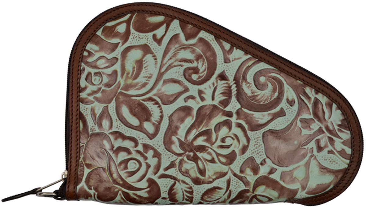 Small Pistol Case Floral Carved Turquoise Leather 9 1/2 x 6 1/2