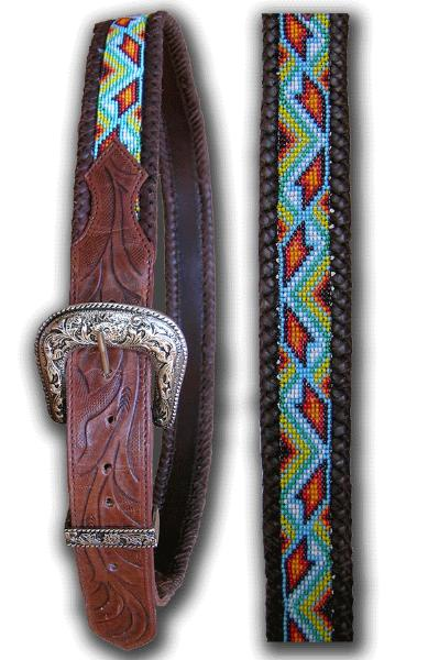 Southwestern Hand Tooled Bead Belt
