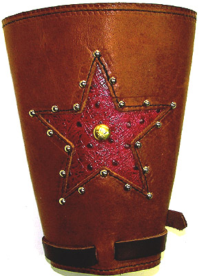 Star Inlay With Spots Leather Western Cowboy Cuffs