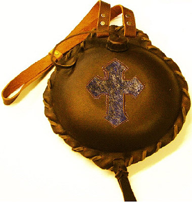 Stitched Cross Inlay Leather Covered Old West 1 1/2 Quart Cantee