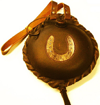Studded Horseshoe Leather Covered Old West 1 1/2 Quart Canteen