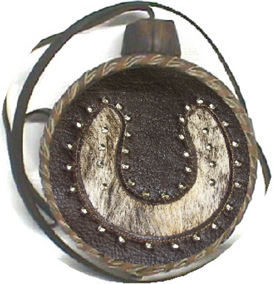 Studded Horseshoe Leather Covered Old West Two Quart Canteen