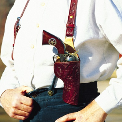 Suspenders with Single Action Army SAA Revolver Holster