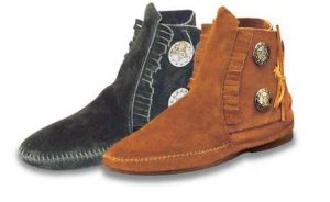 Two Button Leather Moccasin Boots