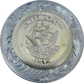 U.S. Navy Military Seal German Silver Snuff Lid