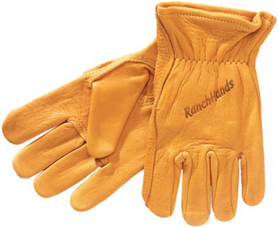 Western Cowboy Elkskin Leather Ranch Hands Gloves With Velux Lin