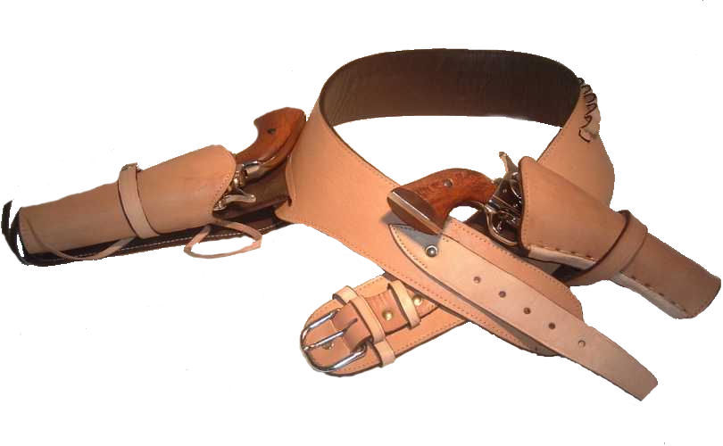 Western Cowboy Leather Drop Loop Gun Belt with Side Holster and Cross Draw Holster