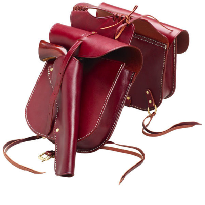 Western Cowboy Leather Pommel Bag with Holster