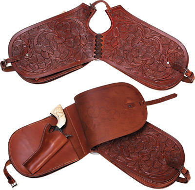Hand Tooled Leather Pommel Bags with One Holster