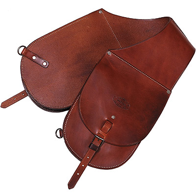 Western Cowboy Leather Saddlebags With One Holster