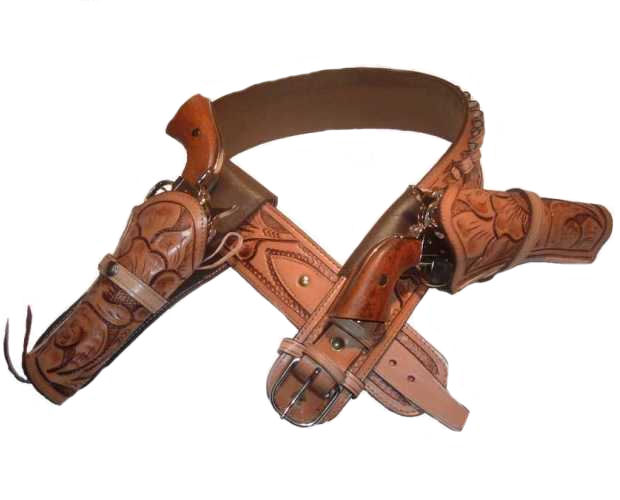 Western High Rider Cartridge Gun Belt with Double Holsters Side and/or Cross Draw