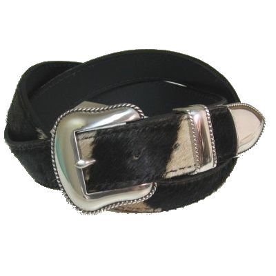 Western Style Burchell Zebra 1 1/2 Inch Belt with 3 Pc. Ranger Buckle Set