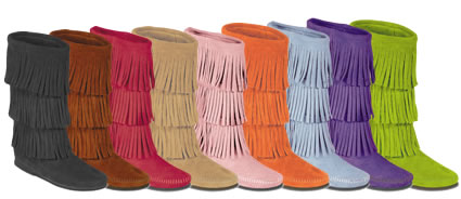Women's 3 Layer Fringe Calf Hi Suede Leather Boots