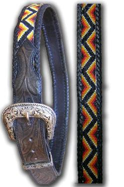 Zig Zag Design Hand Tooled Bead Belt